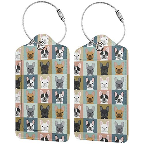 NiYoung Women Men French Bulldog Dog Checkered Luggage Tags Waterproof Name Id Labels Luggage Tags with Stainless Steel Loop and Address Card