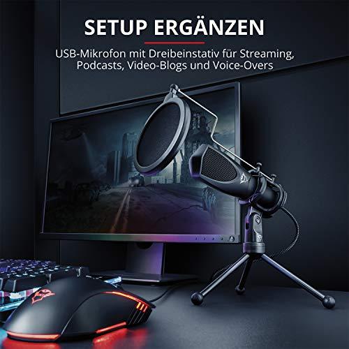 Trust Gaming USB-Streaming-Mikrofon für PC, PS4 und PS5 - schwarz