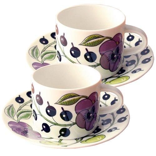 [アラビア]ARABIA8983-8984ParatiisiPurpleパラティッシパープルコーヒーカップ&ソーサー280ml2セット[並行輸入品]