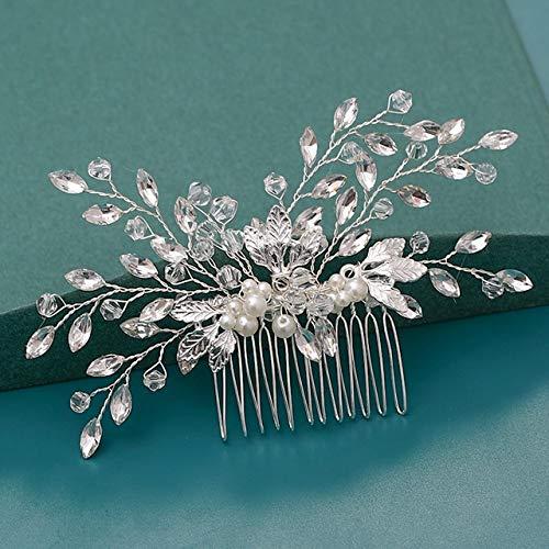 ASDAHSFGMN Bridal Hair Accessories Wedding Bridal Headpiece Handmade Crystal Pearl Wedding Ornaments Hair Jewelry (Metal color : 15)