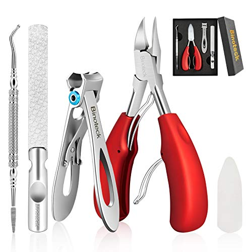 Nail Clippers for Thick Nails,Large Toenail Clippers for Ingrown Toenails or Thick Nails for Men,Women, Seniors,Adults. Professional Stainless Steel Toenail and Fingernail Clippers Set. (Red/Silver)