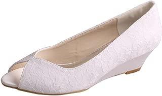 MW407 Women's Peep Toe Wedge Heel Lace and Satin Bridal Wedding Shoes