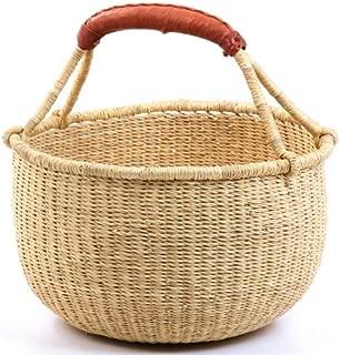 Fair Trade Ghana Bolga African Dye-Free Fully Shaped Medium Market Basket 11-13