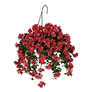 House of Silk Flowers Artificial Watermelon Red Bougainvillea in Water Hyacinth Hanging Basket (Natural Water Hyacinth)