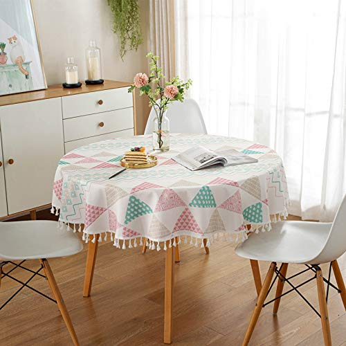YCZZ Table cloth, waterproof table cloth, geometric triangle fringe table cloth, home decoration desk table cloth diameter152cm Pink tablecloth