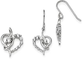 Sterling Silver Dangle Polished Prong set Hidden bail Shepherd hook Rhodium-plated Cubic Zirconia Heart Earring and Pendant Set