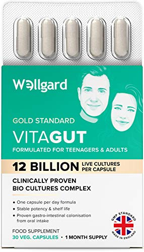 Wellgard Vitagut for Adults & Teenagers - Clinically Proven Bio Cultures, Targets Gut Flora Imbalance Issues in 14 Days, Made in UK