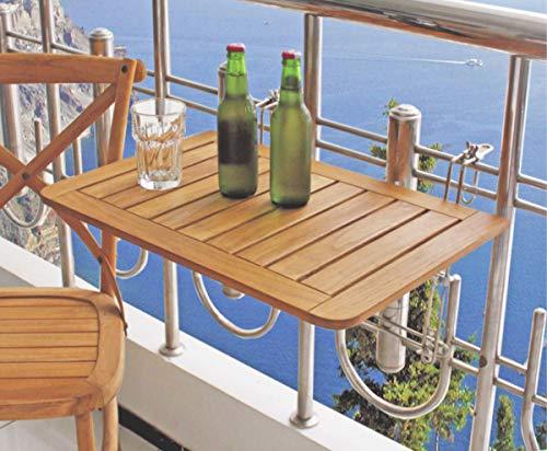 Dynamic24 Balkon Klapptisch Teak Holz Hängetisch Tisch Balkon klappbar Balkonhängetisch Balkontisch