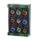 Kurt Adler 45mm Glass Multicolored Set of 9 Reflector Ornament Set, Multi, 9 Piece
