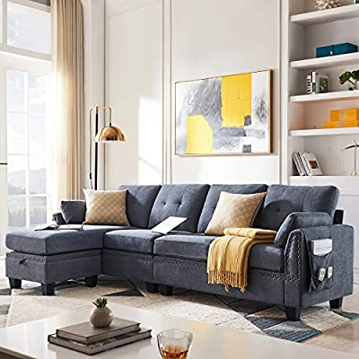 HONBAY Reversible Sectional Sofa Couch for Living Room L-Shape Sofa Couch 4-seat Sofas Sectional for Apartment