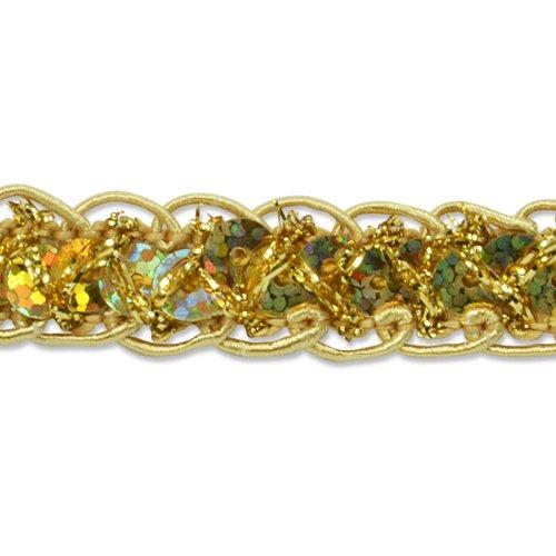 Expo International Sequin Braid Cord Trim, 20-Yard, Gold