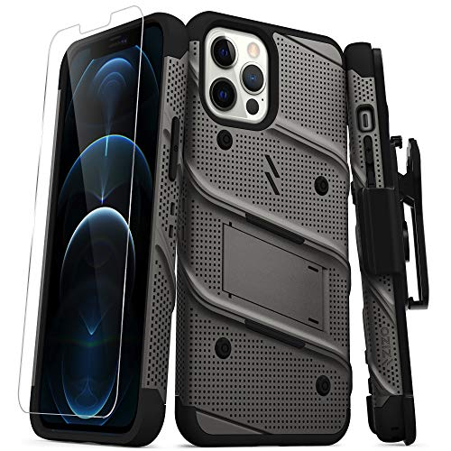 ZIZO Bolt Series for iPhone 12 Pro Max Case with Screen Protector Kickstand Holster Lanyard - Gun Metal Gray