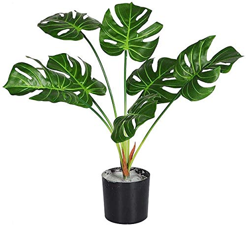 JIAJBG Artificial Plant and Tree, Closer to Nature Multi Branch Tropical Artificial Potted, Height 70Cm, 7 Leaves for Home and Office Decoration