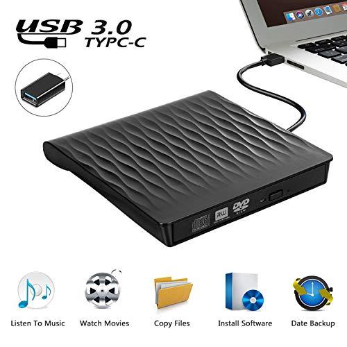 Externes CD DVD Laufwerk, USB 3.0 Schlanker Tragbarer Externer CD DVD Brenner, High-Speed-Datenübertragung Optisches USB Laufwerk für PC Desktop/Laptop/Linux/Macbook/Windows 10/8/7/XP(Schwarz)