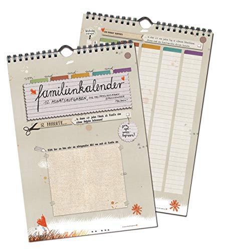 Familienkalender, Familienplaner A4 groß, mit 12 Aufgaben, immerwährend auch als Geburtstagskalender, mit Flyer für 2020, 5 Spalten, 21x30cm