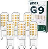 Bombillas LED G9, 5 W, equivalente a 50 W, halógenas, 15,5 mm x 51 mm, blanco cálido, 3000 K, 500 lm, no regulable, sin parpadeo, CA 220 – 240 V, para dormitorio, salón, cocina, jardín, paquete de 6