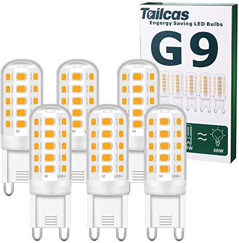 G9 LED-Lampen, 5 W äquivalente 50 W Halogenlampe, 15,5 mm x 51 mm Warmweiß 3000K 500LM Nicht dimmbar Flimmerfrei AC / DC 220-240 V für Schlafzimmer Wohnzimmer Küchengarten, 6er-Pack