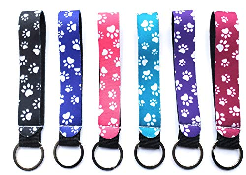 Wristlet Keychain Animal Paw Prints (Multicolor 6 Pack) - Hand Wrist Lanyard - Durable and Premium Quality Neoprene Strap (Wristlets Only)