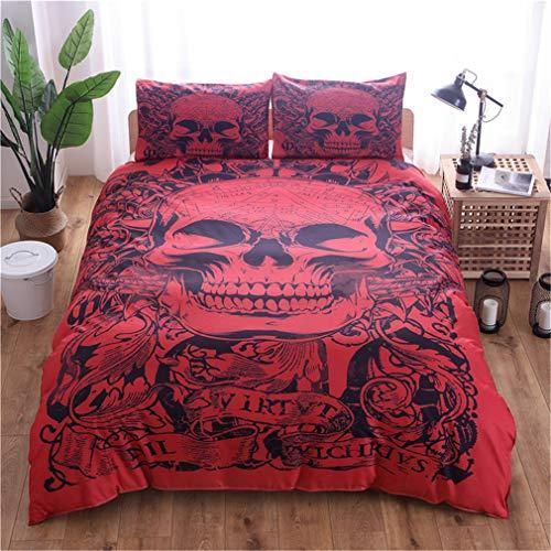 Juego de ropa de cama Sugar Skull y edredón de calavera Funda nórdica para Halloween Esqueleto gótico Skullon Decoración Juego de cama con 1/2 fundas de almohad (Esqueleto 4,240 x 220 cm-Cama 150)