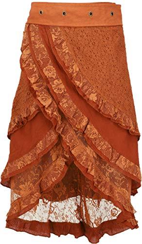 GURU-SHOP, Falda Psytrance Goa Pixi Wrap, Falda con Encaje, Naranja Oxidado, Algodón, Tamaño:One Size, Faldas Cortas