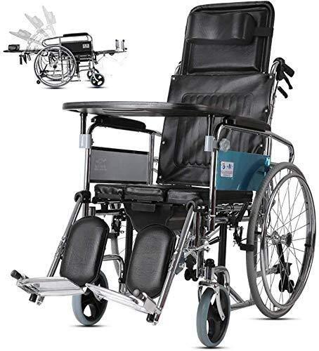 HYY-YY Sillas de Ruedas High Respaldo Completo de Descanso de la Silla de Ruedas, Asiento del Inodoro Plegable for los Ancianos, Adecuado for los Ancianos, discapacitados