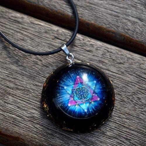 BACKZY MXJP Collar con Colgante Piedras De Cristal Collar De Joyería De Resina Colgante De Chakra De Resina Collar Unisex Collar