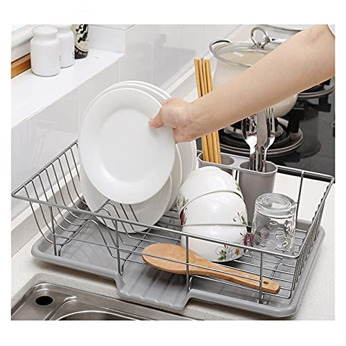 KUYUC Dish Rack Drainer, Dish Drying Rack with Utensil Holder and Drainboard for Kitchen Organizer Storage Space Saver (Color : B, Size : 48cm(19inch))