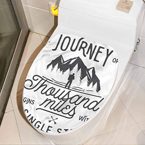 Homesonne Adhesivos para asiento de inodoro de aventura, Motivating Wise Words 3D pegatinas de pared autoadhesivo vinilo decoración de baño 30 x 45 cm