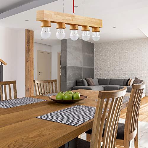 Lámpara colgante de madera EYLM E27 lámpara colgante con 5 llamas para pasillo, comedor, salón, restaurante, bar, cafetería, sin bombilla