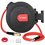 Hromee Air Compressor Hose Reel with Automatic Retractable Enclosed 3/8 Inch × 50 Feet Hybrid Pneumatic Hose, Fittings and Swivel Mount Bracket MAX. 300PSI