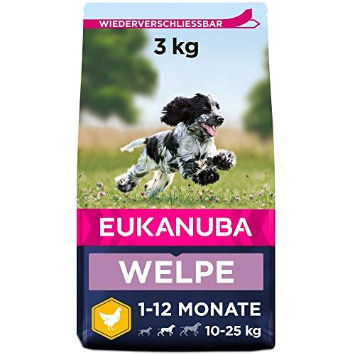 Eukanuba Welpenfutter mit frischem Huhn für mittelgroße Rassen - Premium Trockenfutter für Junior Hunde, 3 kg