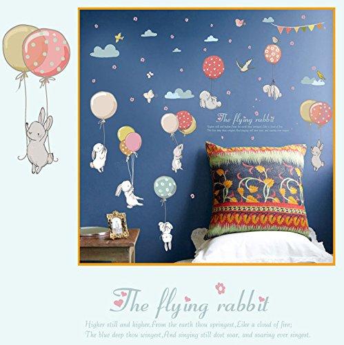 Pegatina pared conejos y globos vinilo suaves colores para paredes cristal .habitaciones niños armarios puertas, aticos, escaparates NOVEDAD 2018 de CHIPYHOME