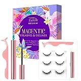 EYEKESHE Pestañas Postizas Magneticas Naturales Incluir Delineador de Ojos y Rizador de Pestañas, Cómodo Impermeable Reutilizable, Adecuado para Maquillaje Carnaval, Boda, Fiesta(3 Pares)
