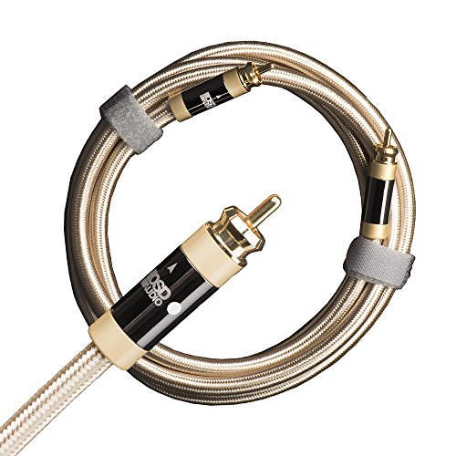 OSD Audio Aurum Unbalanced Subwoofer Cable – Ultra-High Performance, 100% Shield Low, RCA Male to RCA Male, Single, 9.8FT - AU-UBSUB-3M