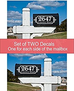 Mailbox Vinyl Decal Sticker Lettering Set of 2 Personalized with Address
