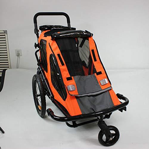 QWERTOUY 2-in-1 fietskar met opblaasbaar 16 inch wiel, kinderfietskar met 1 zitje, oranje kinderwagen