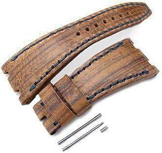 Cinturino cinturino in pelle di art marrone marrone con cinturino, filetto in cera. Cuciture blu scuro, su misura per Aude...