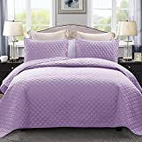 Exclusivo Mezcla Ultrasonic 3-Piece Queen Size Quilt Set with Pillow Shams, Lightweight Bedspread/Coverlet/Bed Cover - (Lilac, 92'x88')