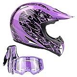 Typhoon Adult ATV Helmet Goggles Gloves Gear Combo Purple Splatter (Small)