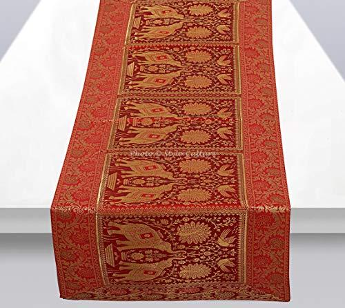 Stylo Culture Ethnische Dekorative Tischläufer Rot Gold Elefant Pfau Bohemien Jacquard Tischdecke Rechteckig 5 Fuß Für Kaffeetisch Brokat Hochzeit Tischdekoration (40 x 152 cm)