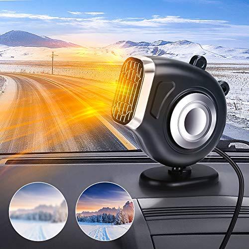 Achort Auto Heizlüfter Tragbar 12V Auto Heizung und Ventilator 2 in 1 Fenster-Entfeuchter Winter Auto Lüfter Windschutzscheiben Demister Defroster Schnelles Erwärmen 360° Drehung Zigarettenanzünder