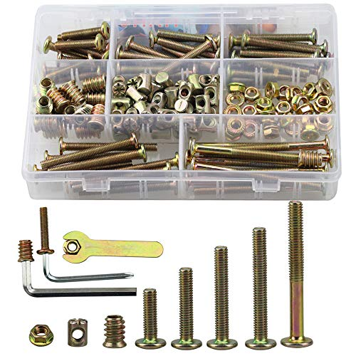 SZHKM 150PCS M6 Kit Crib Screws Hardware Replacement Kit Hex Socket Head Cap Screws Nuts Zinc Plated M6 Screws Barrel Screws Furniture Screws and Bolts Assortment Kit for Baby Bed with Free Tools