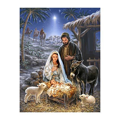 Bismarckbeer - Kit per diamond painting 5D, natività di Gesù, quadro a immagine completa, fai-da-te, da realizzare in stile punto croce e con pietre da applicare
