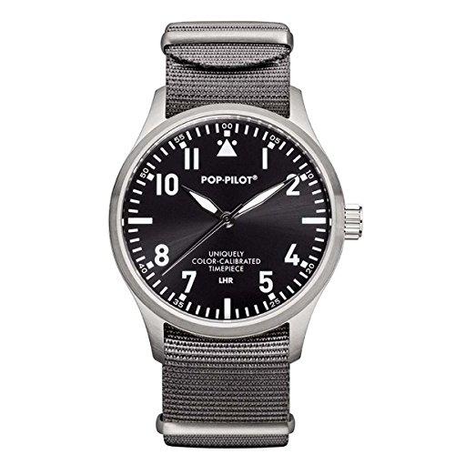 Pop Pilot Herren Analog Quarz Uhr mit Stoff Armband LHR