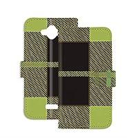 PU手帳型 ミラータイプ スマホケース AQUOS ZETA (SH-01G) 用 ガーリー・グリーン ギンガムチェック 格子柄 市松模様 SHARP シャープ アクオス ゼータ docomo スタンド スマホカバー 携帯カバー check 00l_105@04m