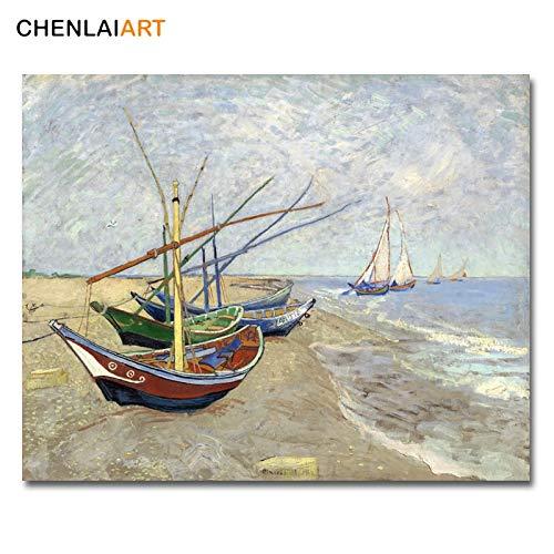 Frameloos Van Gogh Canvas schilderij Vissersboten op het strand van Les Saintes Maries Poster Muurfoto's voor de woonkamer Wall Art <> 50x60cm