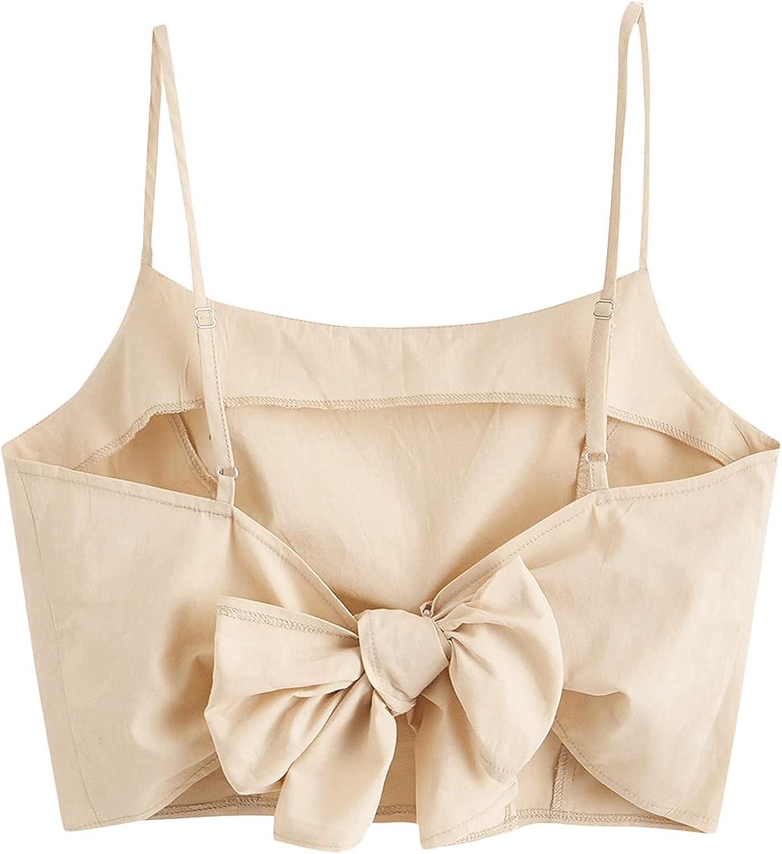 SweatyRocks Women's Spaghetti Strap Tie Back Sleeveless Crop Cami Tank Top