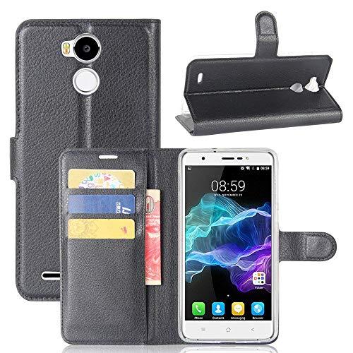 tinyue® Handyhülle für Blackview R6 / R6 Lite, PU-Ledertasche Flip Case Halterung, mit Kartenfach, Magnetschnalle Litschi Textur Leder Handy Hülle Stand Feature, Schwarz