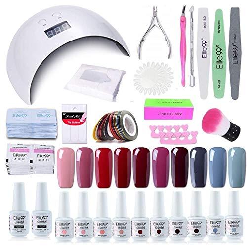 Elite99 Smalto Semipermanente per unghie Kit di Partenza in 10 coloris Gel 24 W LED Lampada UV Nail Dryer Soak Off Topcoat Basecoat Nail Art Tool Set di Adesivi per Manicure Set per Manicure 8ML C012