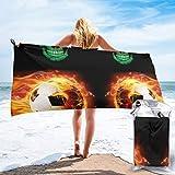 Green Haoke Brasilianische Flagge Schädel und Fußball Schnelltrocknend Strandtücher Super Absorbent Reisetücher Mikrofaser Badetuch für Camping Sports Gym Wandern 31.5 x 63 Zoll